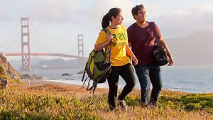 Students hiking along nearby Baker Beach