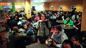 Students at the Crossroads Cafe